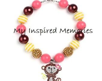Free shipping.Monkey bubblegum necklace, Monkey necklace, Monkey chunky bubblegum necklace