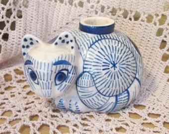 Vintage Nancy Lopez Blue Cat Pottery Candle Holder, 1978