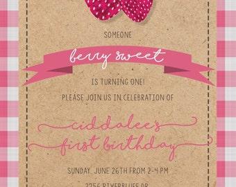 Vintage Strawberry Invitation
