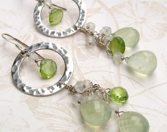 Prehnite earrings, handmade peridot, moonstone, sterling silver earrings-OOAK fairy earrings