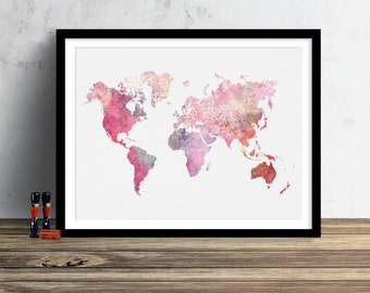 World map print etsy popular items for world map print gumiabroncs Image collections