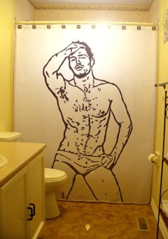 Male nude shower curtains