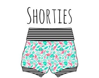 PREORDER flamingo shorties, flamingo bummies, baby beach shorts, flamingo baby shorts, bird print shorts, baby bummies, flamingo bummies