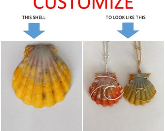 CUSTOMIZE An Ocean Wave Wire Wrapped Sunrise Shell Necklace; 14k Gold Filled; Sterling Silver