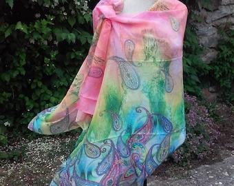 Paisley Long Scarf Rainbow Scarves Oversized Scarf Chiffon Shawl Boho Bohemian Scarf Polyester Wrap Multicolor Esharp Gift Ideas For Her