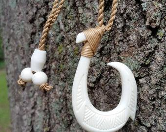 Fish Hook Necklace, Hawaiian Fish Hook Necklace, Maori Man Necklace, Single Barb Hook Necklace, Surfer Necklace, New Zealand Tribal Necklace