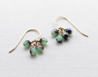 "14k goldfill earrings - ""lucky"" faceted earrings in blue and green - handmade by elephantine"