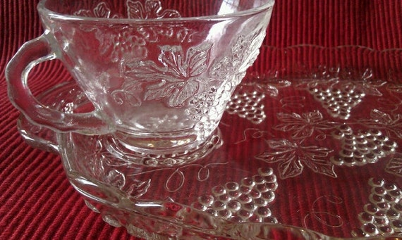 Vintage Glass Snack Tray with Cup. 40\'s/50\'s