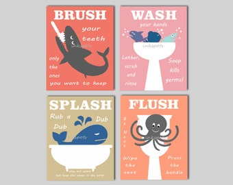 Bathroom Rules, Nautical Bathroom Print, Wash Your Hands, Bathroom Nautical Signs, Kids Bathroom Art, Customize Your Colors / KB02