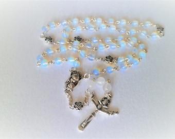 Rosary Catholic Trinity spacer white opal flowers 44 cm Tibetan silver