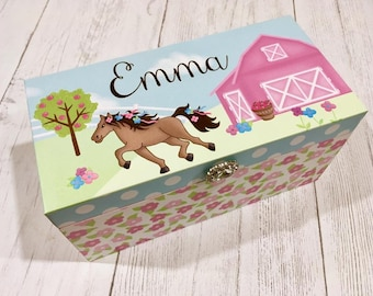 Horse Flowers Personalized Jewelry Box JB0015
