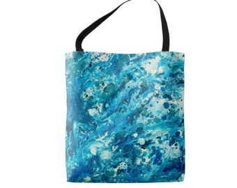 Blue Tote Bag in Abstract Art Ocean Design, Love the Ocean 16x16 Medium Book Bag Tote, Reusable Bag from Original Artwork