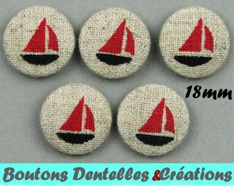 Buttons covered with linen - sea - boats - boats - 18 mm - (18-04)