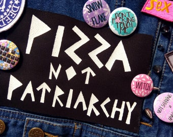 Pizza not patriarchy patch, feminist gift, screen printed jacket patches, sew on pizza patch, social justice, liberal merch, political gift