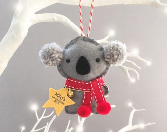Koala Bear Christmas Decoration - Koala Tree Decoration - 1st Christmas Gift - Bear Christmas Ornament