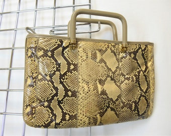 70s Snakeskin Purse, Vintage 60s/70s Snake Leather Handbag, Taupe Leather Purse, Retro Zippered Bag, Gold Metal Hardware, Marion
