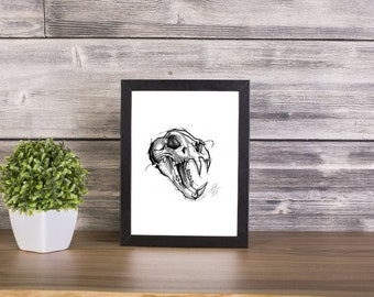 Tiger Skull Handmade Drawing, Digital Print, Art Print, Made in pencil, charcoal and ink, Tattoo Sketch, Tattoo Flash