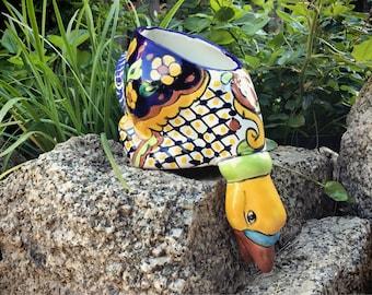 Vintage Talavera Planter Duck Statue Mexican Folk Art, Duck Decor Ceramic Planter