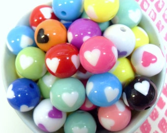 10x 15mm Colorful Heart Resin Globe beads in cute colours