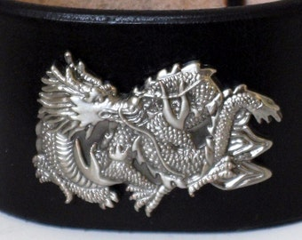 Horizontal Dragon concho in Antiqued silver on a black leather wristband