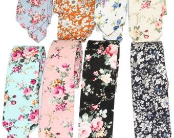 Choose 1 Men's Slim Floral Neck Tie - Choice of Blue / Ivory / Aqua / Peach Blush / Black Floral