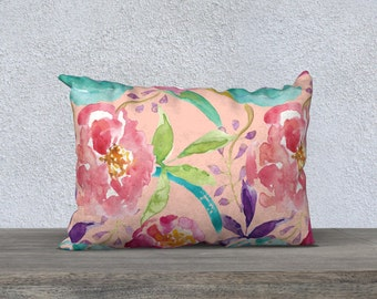 Peach Floral Pillow Cover - Modern Flowers Cushion Cover - Modern Decor - Peach Pink Blue Pillow Cover -18x18 or 20x14 - Decorative Pillow