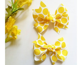 Yellow polkadot spring summer pigtail bows