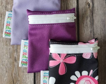 Wetbag Minis Set of 3 ~ Travel Size Mini Zippered Purple WetBag ~ Binky Bag ~ Cosmetic Purse Bag