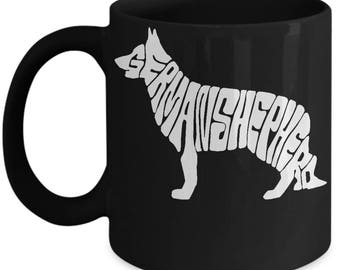 German Shepherd Black Coffee Mug