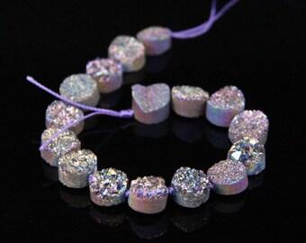 16PCS strand,12mm Flat Round Coin Cabochons Natural Quartz Geode Drusy,Rainbow Titanium Agate Druzy Slice Slab Nugget Beads Pendant Jewelry