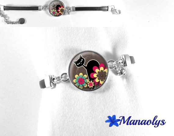 Black leather, cats, flowers, yellow and pink 300 glass cabochon bracelet