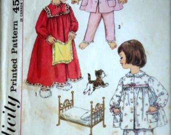 Vintage 50's Simplicity 3243 Sewing Pattern, Girls Pajamas And Nightgown, Size 6, 24 Breast, 1950's Kids Sleepwear