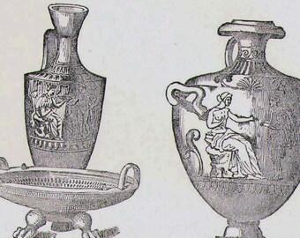 Antike griechische Keramik Archäologie Amphore Vase Urne Etrusan Sarkophag Griechenland 1892 viktorianischen Diagramm Gravur Rahmen schwarz & weiß