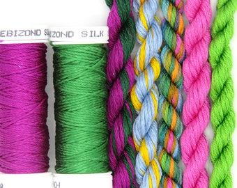 Free Design, PDF, Silk thread, needlepoint design, silk fibers, embroidery thread assortment, pink, green, hand dyed thread, holiday gift