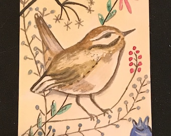 Bird ACEO painitng watercolor acrylic aviary and floral