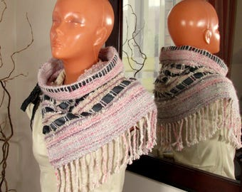 Handwoven neck warmer Collar Snood Cowl Scarf Woven alpaca silk shoulder warmer Warm striped collar with ribbons White rose gray cowl OOAK