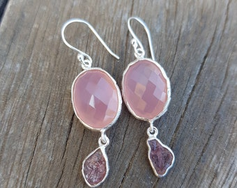 Pink calcedony earrings, for her