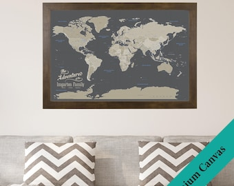 CANVAS Personalized Earth Toned World Travel Map - Push Pin Travel Map - Canvas World Map - 2nd Anniversary Gift - Cotton Anniversary
