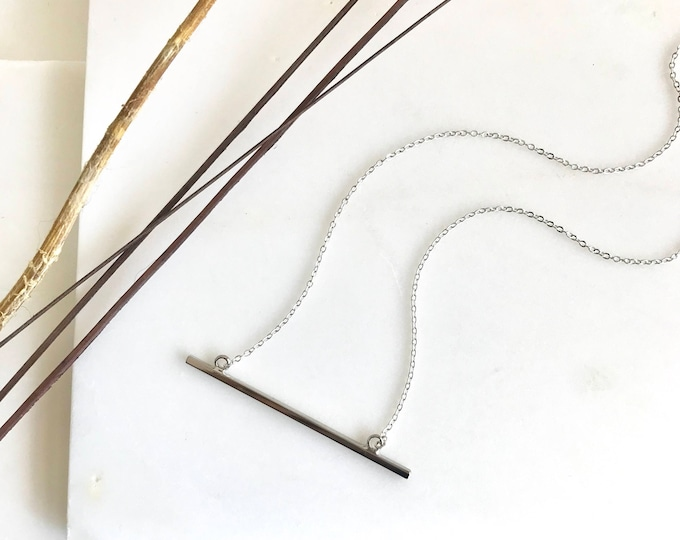 Simple Silver Bar Necklace.  Dainty Silver Bar Pendant Necklace. Layering Silver Bar Necklace. Gift for Her. Boho Layering Necklace.