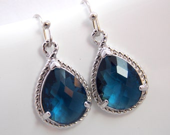 Navy Blue Earrings, Glass Earrings, Silver, Montana Blue, Dark, Bridesmaid Jewelry, Wedding Jewelry, Bridesmaid Earrings, Bridesmaid Gifts