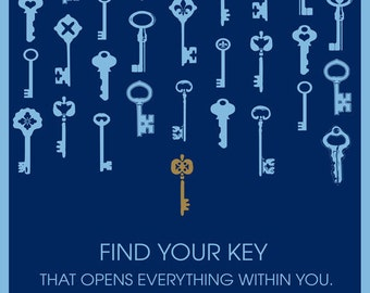 Find Your Key - INSTANT DOWNLOAD of 8x10 Art Print on Blue