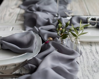 Grey Chiffon Table Runner, Table Runner For Wedding, Wedding Decor, Grey  Table Runner