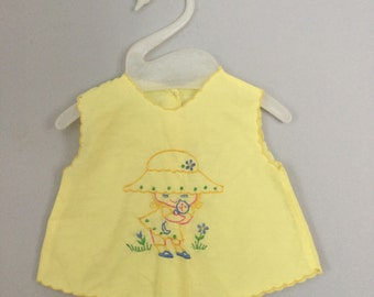 70s 80s Embroidered Baby Dress or Top 0-3 months