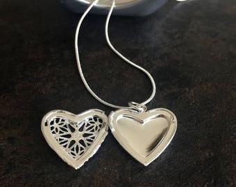 Sterling Silver Heart Locket On 925 Silver Chain