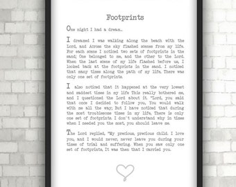 Footprints in the Sand Prayer, Insprirational, Home Decor, Black and White Art, Words of Wisdom