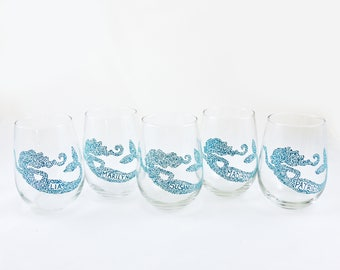 Bridesmaids  - Bachelorette - Bridal - Nautical - Personalized hand painted mermaid stemless wine glass - Sea Glass Collection