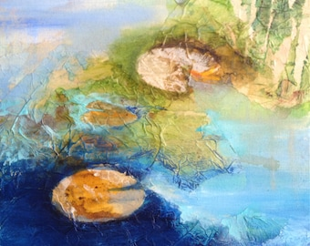 Waterscape with Lillies in blue and green. Original Painting, mixed media on canvas. Abstract Landscape. Contemporary art.