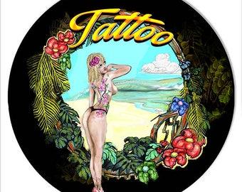 Tattoo Lady Nostalgic Reproduction Metal Sign 14x14