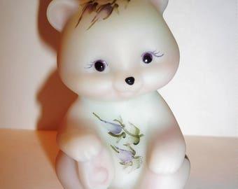 Fenton Glass e-Group Exclusive Lotus Mist Burmese Purple Roses Mini Bear Figurine Ltd Ed!