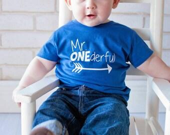 Mr ONEderful - Arrow - 1st Birthday shirt - tribal arrow - Name on back - first birthday - one year old - Mr Wonderful - onederful - trendy